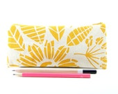Cute Yellow Pencil Case, College Student Gift, Small Valentine's Gift for Girlfriend, Organic Cotton Canvas Zipper Pouch, Pencil Pouch