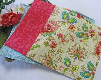 placemats set of six pink floral shabby chic decor bright floral place mats - Kitchen Table Mats