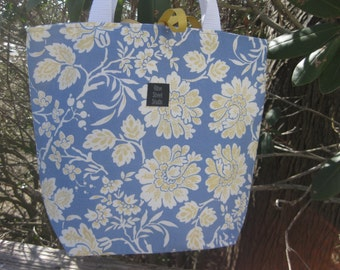 Medium handbag in periwinkle blue and yellow floral and stripe REVERSIBLE