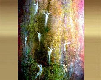 Large original art EARTH ANGELS canvas print giclee acrylic hand embellished abstract contemporary modern fine art Carol Lee Art Studio