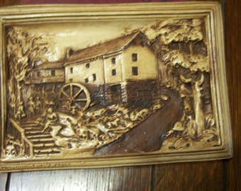 Vintage Washington's Mill Chalkware, Chalk Ware Plaque,  Signed 1941, Sepia Colors
