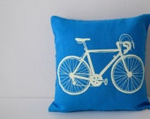 Pillow Cover - Cushion Cover - Road Bike - 12 x 12  inches - Choose your fabric and ink color