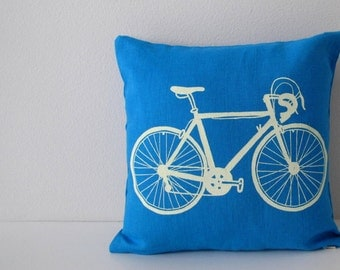Pillow Cover - Road Bike - 12 x 12  inches - Choose your fabric and ink color - Accent Pillow