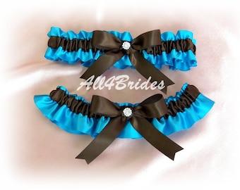 Weddings bridal garter set, turquoise and chocolate brown satin garters, prom garters