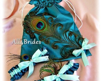 Peacock Wedding Bridal Leg Garters and Drawstring Bag Teal and Aqua - Peacock Feathers Bridal Accessories - Something Blue