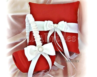 Persimmon Wedding Flower Girl Basket and Ring Bearer Pillow Set, Wedding Cushion and Basket Set
