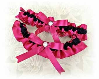 Wedding bridal leg garter set, black and watermelon, fuchsia or hot pink satin bridal or prom garters.