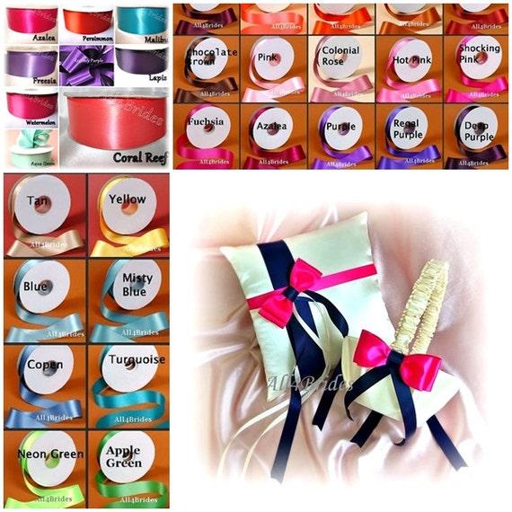 Custom colors wedding ring bearer pillow and flower girl basket set.