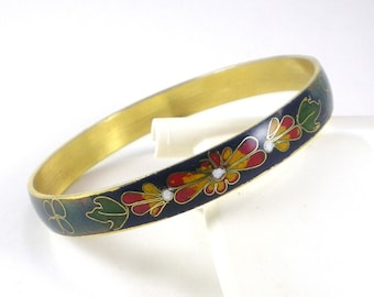 Cloisonne Bangle Bracelet - Blue Green Colorful - Hippie Boho - Vintage Jewelry - Women Accessories - Asian Oriental