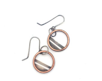 Small Mixed Metal Hoop Earrings, Silver and Copper Earrings, Striped Geometric Jewelry, Handmade Artisan Industrial Jewelry