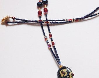 Beaded Lanyard, Navy Blue/ Red/ and Gold, Handmade,  Glass Beads, Lovely