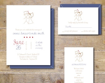 Wedding Invitations, Wedding Invites, Stick Figure Wedding Invitations, Casual Wedding Invitations, Whimsical, Playful- Stick Figure Kiss