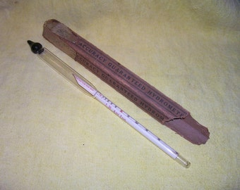 Antique HYDROMETER Glass U.S.C.H. Proof Tralle Scale 60o blown 11.25 in. vintage