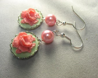 rose cameo earrings ... pretty Victorian style rose cameo earrings in pink and mint