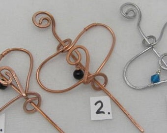 Copper Heart Hair Pin, Shawl Closure Pin. Heart Closure..