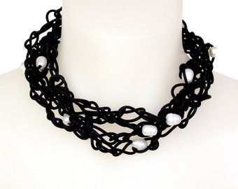 long pearl and black rubber necklace, freshwater pearl designer jewelry,