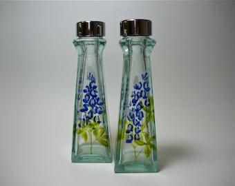 Texas Bluebonnets Salt & Pepper Shakers Recycled Glass