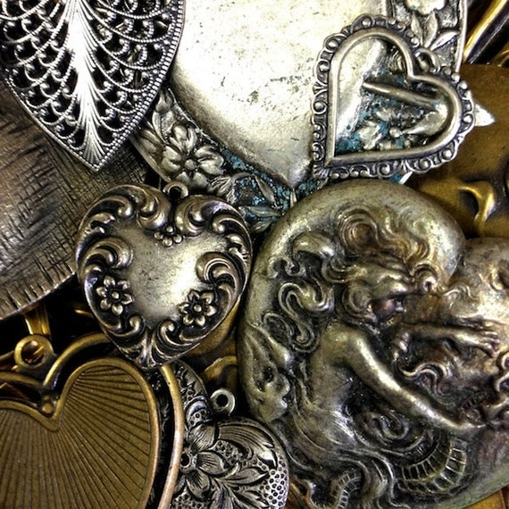 Heart Charms Mix Assortment, vintage finishes, 1/4 pound