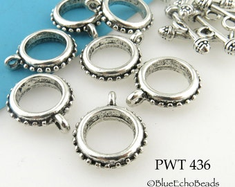 Pewter Toggle Clasp with Raised Dots Antiqued Silver 18mm (PWT 436) 4 sets BlueEchoBeads