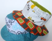 Toddler boy sun hat, bucket style with brim, reversible, cute cotton prints