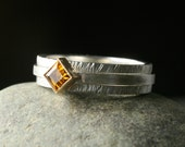 hammered bezel set citrine sterling silver and 14k yellow gold stacking ring size 8.25 to 8.5