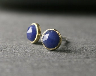 Bezel set rose cut untreated natural blue sapphire stud earrings in 18k yellow gold hammered textured bezels 5mm