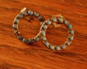 Vintage Turquoise Lapel Pins Turned Earrings