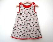 Little Red Riding Hood Girls Handmade Dress, Baby Girl Jumper dress, Toddler handmade dress, Linen Girl Dress, Designer Handmade Dress