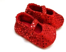DOROTHY baby girl glitter and sequins shoes, mary jane baby booties with soft sole, Red ruby slippers, Christmas baby girl booties