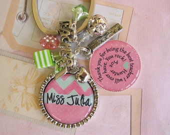 Personalized Pink and Mint Green Teacher's Keychain