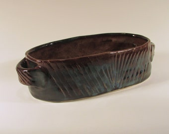 Oval Ceramic Casserole - Baking Dish - Blue Brown and Black - Wheel Thrown Stoneware Ceramics Pottery