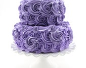 "Purple Rosette Fake Cake Stackable 2 Tier Cake Bottom Tier Approx. 9""w x 4.25""h Top Tier Approx.6.75"" w x 4"" h Fab Photo Prop/Birthday Decor"
