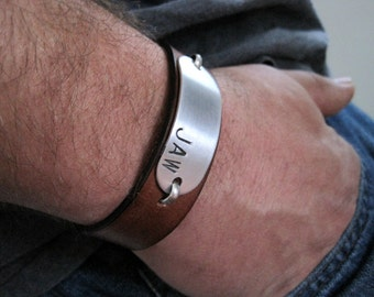 Hidden Message Personalized Mens Womens Leather Bracelet - Leather and Aluminum
