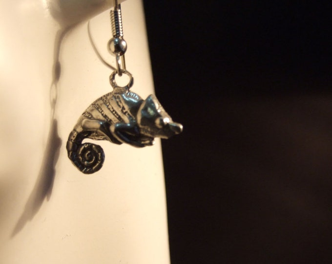 Chameleon earrings made with Australian Pewter and Surgical Steel hook