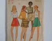 Vintage 70s Mini Pantskirt Pattern Butterick 6640 Waist Size 25 1/2 Hip 36  UNCUT