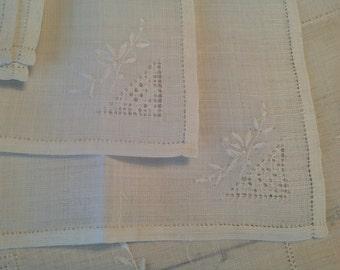 50s Linen Tablecloth Set White on White Embroidery 54 Square Bridge Size Set of 8 Napkins