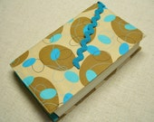 Large Size Fabric Paperback Book Cover with Bookmark, For the Book Lover, Book Cover, Turquoise and Tan, Made in the USA
