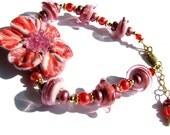 Coral Pink Flower Bracelet, Breathtaking Lampwork Glass Bracelet, Gold Filled Bracelet, Statement Bracelet, Ready To Ship