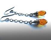 Tangerine Swarovski Drop Earrings