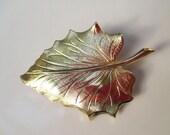 Golden Leaf Brooch Pin Antique Vintage