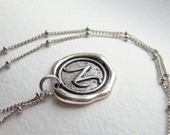 Antique Silver Wax Seal - N - Monogram Necklace