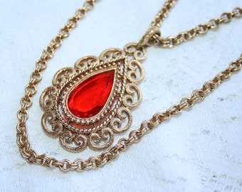 Glowing Orange Granada Necklace Vintage Avon Gold Bohemian Rhinstone