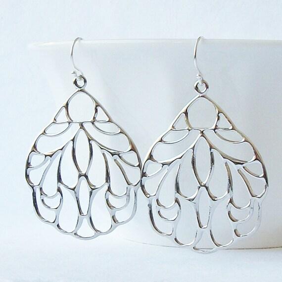 Silver Glossy Pendant Earrings