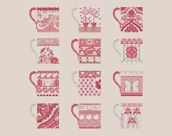 Cross stitch pattern PINK CUPS,cross stitch,wall art,embroidery pattern,needlepoint,scandinavian,diy,hand embroidery,Anette Eriksson Design