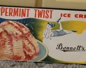 VINTAGE  Bennett' Peppermint Twist  Ice Cream Framed NOS Ottawa Kansas