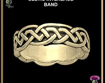 Celtic Wedding Ring, Celtic Knot Ring, Interlace Ring - Gold CW09