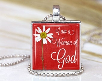I am Woman Of God  Glass Pendant, Inspirational Bible Verses Glass Pendant, Quotes Necklace