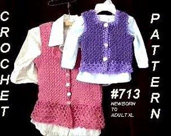 Crochet PATTERN num. 713- Vest cardigan sweater, shrug jacket, tank top, make it any size, Newborn to adult, digital download craft supplies