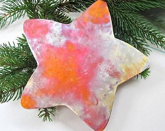 Christmas Tree Topper, Copper Star Ornament, Rustic Holiday Decor, Primitive Metal Star, Xmas Tree Topper, Holiday Decorations
