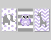 Lavender Purple Grey Gray Nursery Art Trio Polka Dot Elephant, Stripe Owl, Chevron Giraffe - Set of Three 13x19 Prints - CHOOSE YOUR COLORS
